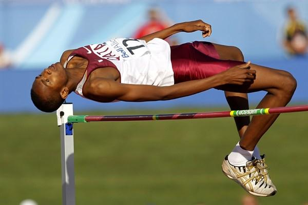 Mutaz Essa Barshim sails over the bar in the High Jump final (Getty Images)