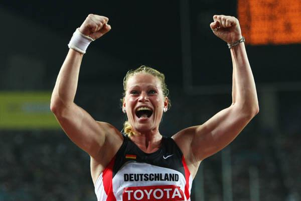 Nadine Kleinart of Germany celebrates winning the bronze medal in the women's Shot Put (Getty Images)