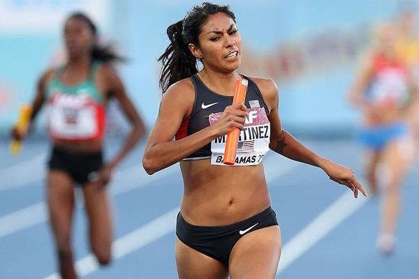 USA's Brenda Martinez in the 4x800m at the IAAF World Relays in Nassau (Getty Images)