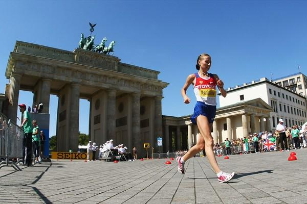 Olga Kaniskina of Russia in action during the women's 20km Race Walk Final (Getty Images)