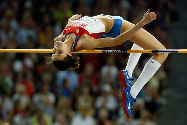 Russia Anna Chicherova clears 2.02m in the women's High Jump Final in Berlin (Getty Images)