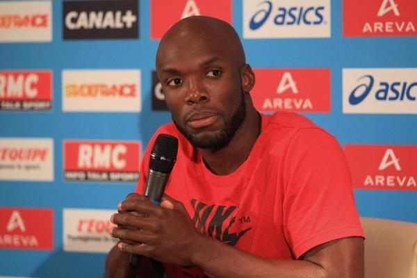 LaShawn Merritt at the pre-event press conference for the 2013 IAAF Diamond League In Paris (Jean-Pierre Durand)