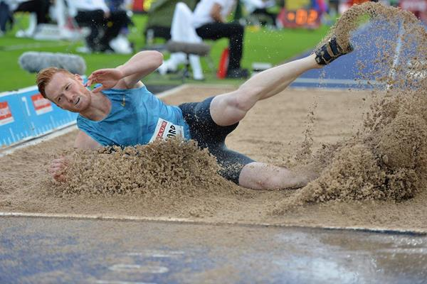 Greg Rutherford at the 2015 IAAF Diamond League meeting in Stockholm (Deca Text&Bild)