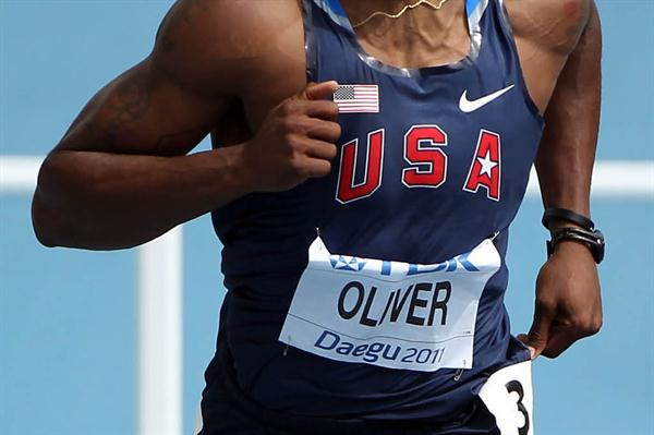 David Oliver of the USA in the opening round of the men's 110m Hurdles (Getty Images)