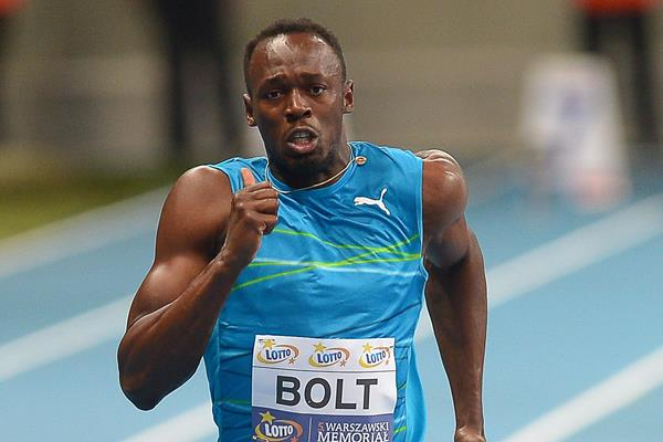 Usain Bolt at the 2014 LOTTO Kamila Skolimowska Memorial meeting in Warsaw (Marek Biczyk / organisers)