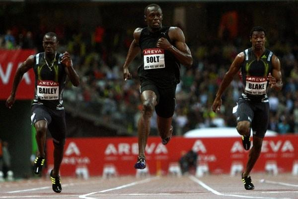Usain Bolt clocks a superb 9.79 seconds in the 100m as his training partners Daniel Bailey and Yohan Blake join him under 10 seconds (Getty Images)
