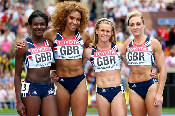 Great Britain after winning the 4x100m Relay bronze medals at the 2013 IAAF World Championships (Getty Images)