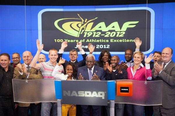 IAAF Delegation counting down to the end of the day's trading at NASDAQ (NASDAQ)