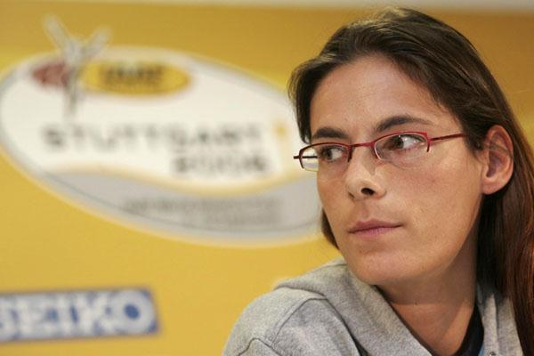 Tia Hellebaut at the World Athletics Final kick-off press conference in Stuttgart (Getty Images)