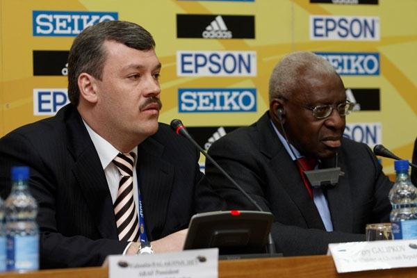 Sergey Gaplikov, Prime Minister of Chuvash Republic during the Press Conference (Getty Images)