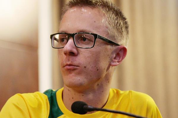Jared Tallent at the Taicang 2014 press conference (Getty Images)