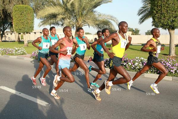 The men's leading pack (with finish times) in the 2014 RAK Half Marathon (Victah Sailer / organisers)