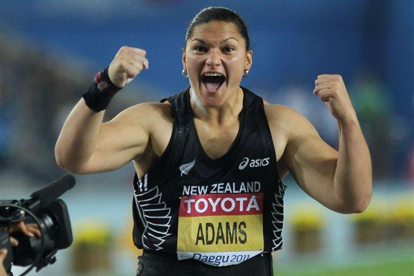 Valerie Adams of New Zealand celebrates winning the women's shot put final  (Getty Images)