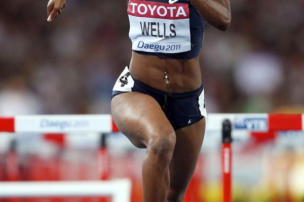 Kellie Wells of United States in action in the women's 100 metres hurdles semi finals  (Getty Images)