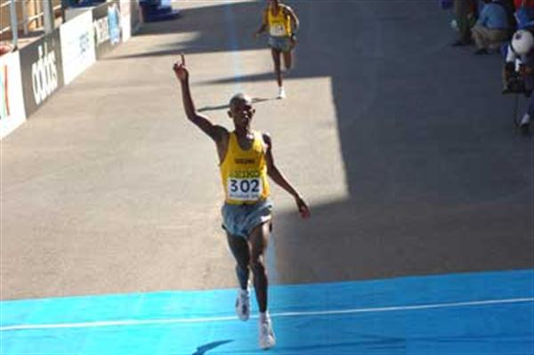 Fabiano Joseph crosses the finish line (IAAF)