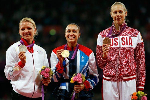 (R-L) Bronze medalist Tatyana Chernova of Russia, gold medalist Jessica Ennis of Great Britain and silver medalist Lilli Schwarzkopf of Germany pose on the podium during the medal ceremony for Women's Heptathlonon Day 8 of the London 2012 Olympic Games at Olympic Stadium on August 4, 2012  (Getty Images)