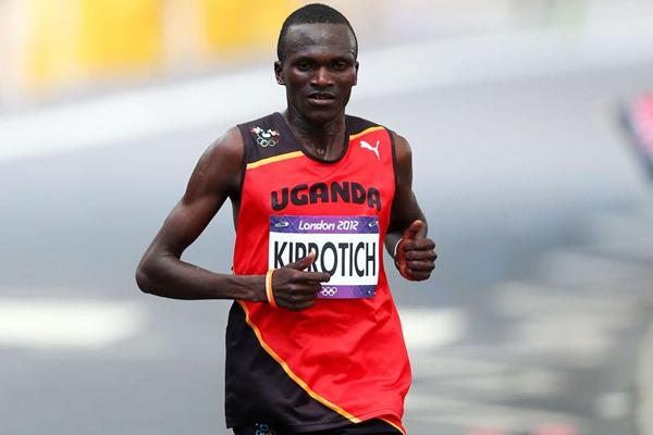 Stephen Kiprotich of Uganda on his way to winning gold in the Men's Marathon of the London 2012 Olympic Games at The Mall on August 12, 2012 (Getty Images)