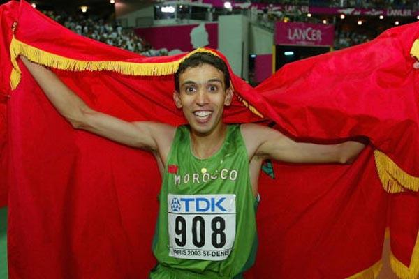 Hicham El Guerrouj of Morocco celebrates winning the 1500m final (Getty Images)