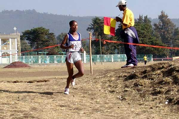 Gelete Burka  runs away with junior title in 2005 Jan Meda Cross Country (Nahom Tesfaye)