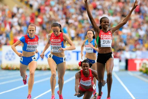 Eunice Jepkoech Sum and Alysia Montano in the womens 800m at the IAAF World Athletics Championships Moscow 2013 (Getty Images)