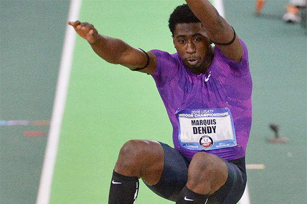 Marquis Dendy in action at the US Indoor Championships (Kirby Lee)
