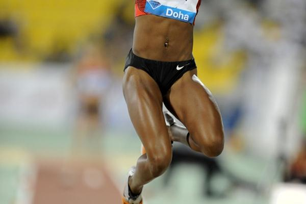 Funmi Jimoh soars to an early season world-leading 6.88m in Doha (Jiro Mochizuki)