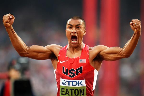 Ashton Eaton in the decathlon at the IAAF World Championships, Beijing 2015 (AFP / Getty Images)