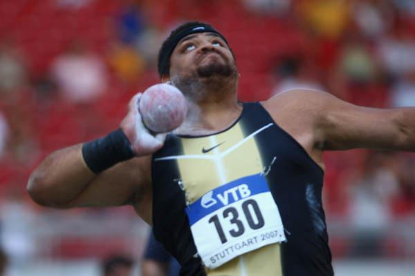 Reese Hoffa of the US wins the men's Shot Put at the World Athletics Final (Getty Images)