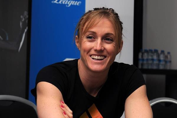 Sally Pearson at the 2013 IAAF Diamond League in Birmingham pre-event press conference (Mark Shearman)