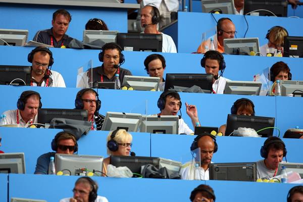 International athletics media on the press tribune (Getty Images)