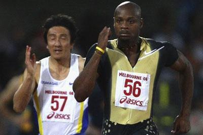 10.04 meeting record for Asafa Powell at the World Athletics Tour meet in Melbourne in 2008 (Getty Images)