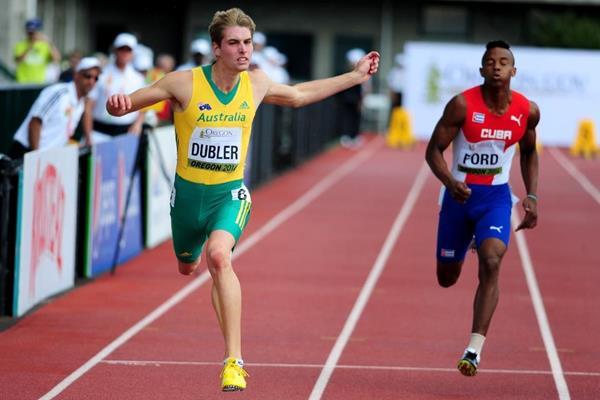Australian decathlete Cedric Dubler at the 2014 IAAF World Junior Championships in Eugene (Getty Images)