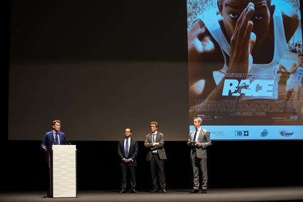 IAAF President Sebastian Coe at the European premiere of Race (Philippe Fitte / IAAF)