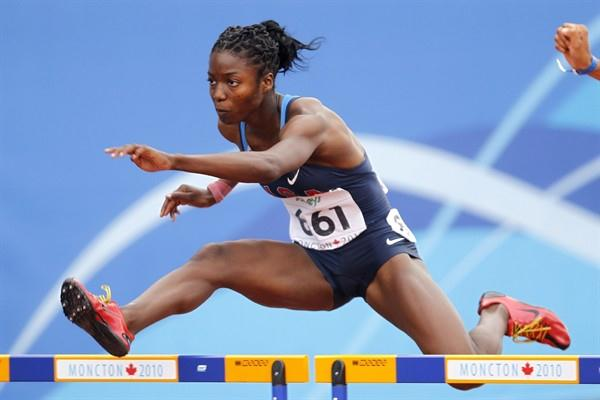 USA's Evonne Britton competes in the women's 100m hurdles heats (Getty Images)