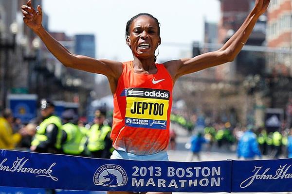 Rita Jeptoo wins the Boston Marathon (Getty Images)