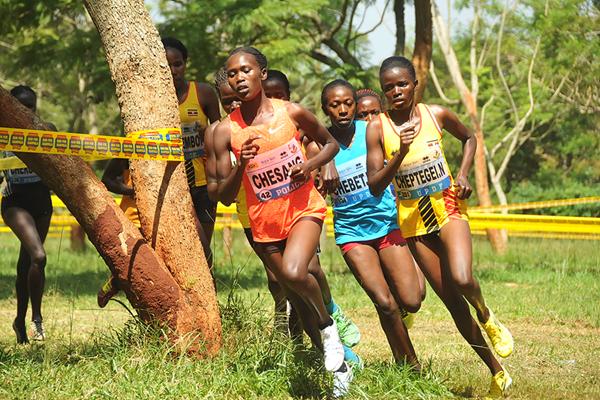 Stella Chesang on her way to winning the senior women's race at the Ugandan Cross Country Championships (Namayo Mawerere)