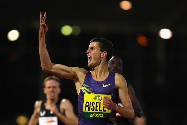 Jeffrey Riseley of Australia celebrates beating Asbel Kipkrop at the Melbourne Track Classic Meeting (Getty Images)