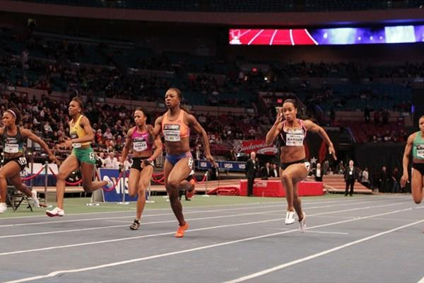Veronica Campbell-Brown wins the 60m at the 104th Millrose Games (Errol Anderson)