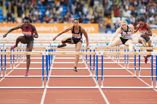 Dawn Harper Nelson (left) wins the 100m hurdles at the 2014 IAAF Diamond League in Birmingham (Jean-Pierre Durand)