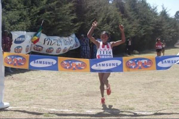 Wude Ayalew winning the Ethiopian World Championships trials (Elshadai Negash)