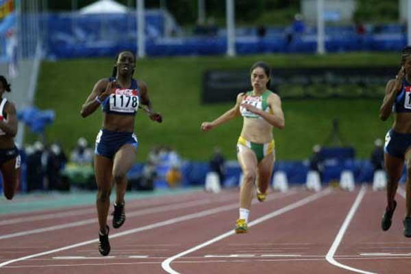 Jessica Onyepunuka of the USA wins the 100m final (Getty Images)