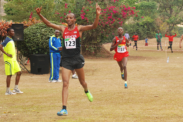 James Rungaru wins the senior men's race at the African Cross Country Championships (Saddique Shaban)