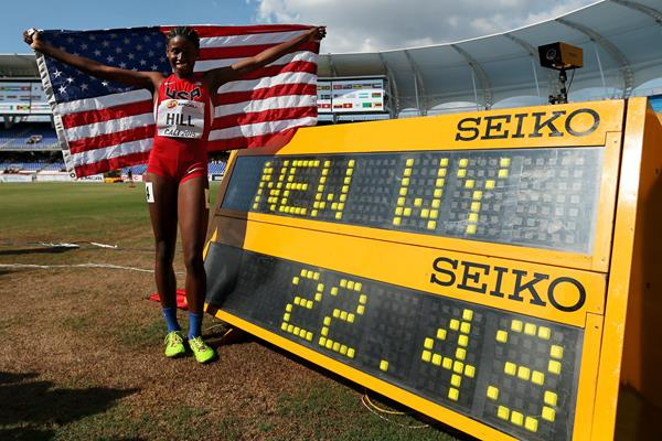 Candace Hill after winning the girls' 200m in Cali in a world youth best of 22.43 (Getty Images)