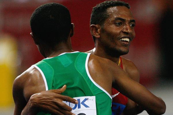 Zersenay Tadese of Eritrea is congratulated on winning the silver medal by Kenenisa Bekele of Ethiopia who took the gold medal in a Championship Record in the Berlin Olympic Stadium (Getty Images)