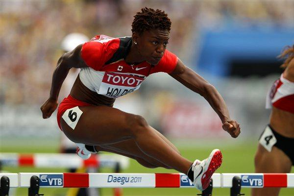 Nikkita Holder of Canada in action in the women's 100 metres hurdles heats (Getty Images)