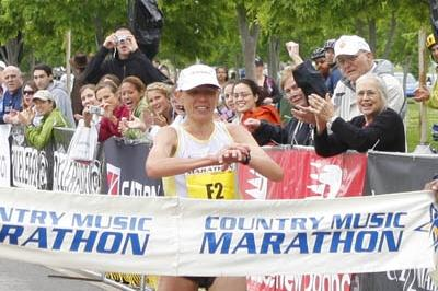 Svetlana Ponomarenko winning the Country Music Marathon in 2:30:33 (Country Music Marathon organisers)