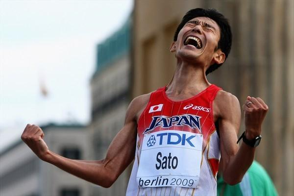 Atsushi Sato of Japan screams in joy at finishing the men's Marathon securing Japan the bronze medal in the Marathon World Cup at the 12th IAAF World Championships in Athletics (Getty Images)