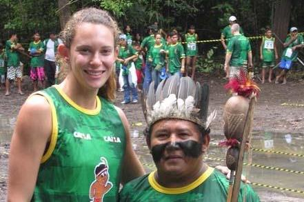 Fabiana Murer with the chief of the Satere tribe in the heart of the Amazon region of Brazil (Nick Davies)