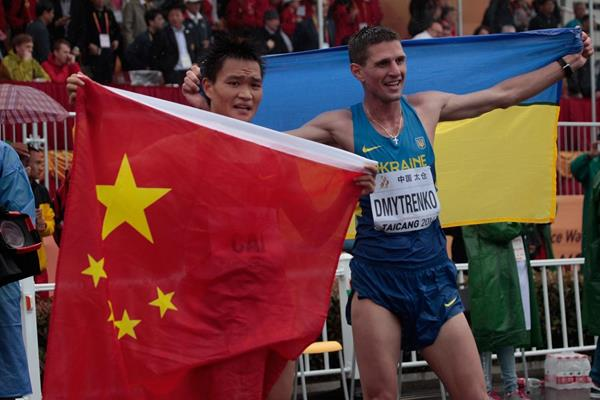 Cai Zellin and Ruslan Dmytrenko at the 2014 IAAF World Race Walking Cup (Getty Images)