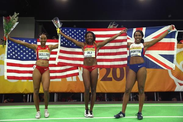 The women's 60m hurdles medallists at the IAAF World Indoor Championships Portland 2016 (Getty Images)